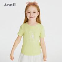 【2件4折价:67.6】安奈儿童装女童短袖T恤2021夏新款洋气立体绣花国潮女孩上衣薄款