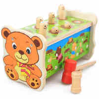 儿童益智打地鼠亲子互动游戏 宝宝木制敲击玩具 1-2-3岁生日礼物