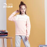 安踏(ANTA)官方旗舰店男女童装中大童加绒保暖卫衣裤子两件套针织运动套A37848792