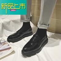 新品上市男士小皮鞋韩版潮流鞋子18冬季新款一脚蹬男鞋百搭增高英伦潮鞋