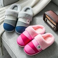 新款PU棉拖鞋女冬季情侣家居家加厚保暖软底室内男士拖鞋
