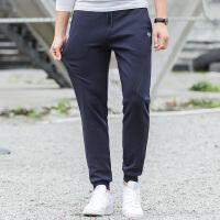 吉普JEEP运动长裤春秋款男士束口卫裤简约纯色百搭松紧腰针织休闲裤