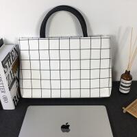 电脑包女手提macbook苹果air笔记本pro时尚3韩版13.3寸15寸mac包 黑白格子 英伦风
