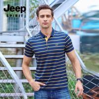 吉普(JEEP)春夏短袖T恤 男士棉翻领条纹POLO衫 男士短袖条纹打底衫
