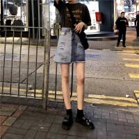 学生高腰显瘦拼接牛仔半身裙子女2019春装新款破洞毛边A字短裙潮 蓝色
