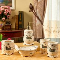 欧式洗漱套装 陶瓷卫浴五件套 美式浴室用品牙杯漱口杯含托盘
