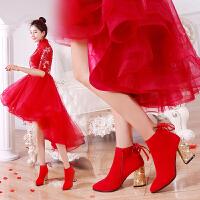 婚鞋女2018新品冬季新娘结婚鞋子女红色敬酒尖头粗跟短靴