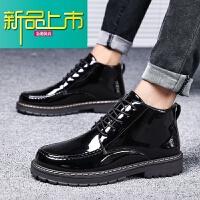 新品上市春季男士高帮皮鞋韩版潮流中帮休闲马丁靴防水黑皮靴子男英伦