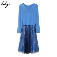 【6/4-6/8 一口价:379元】 Lily春女装两件套毛针织衫百褶网纱连衣裙119130P7312