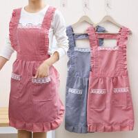 韩版时尚双层防水防油围裙厨房做饭围腰可爱公主罩衣家用女工作服