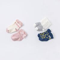 [2双装]戴维贝拉儿童袜子春秋季新款宝宝小女孩弹力中筒袜
