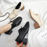 时尚英伦风单鞋ins潮气质蝴蝶结小皮鞋女 新款粗跟深口单鞋女士中跟黑色皮鞋