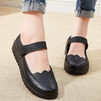 妈妈鞋单鞋舒适软底中年皮鞋平底滑中老年女鞋老人奶奶鞋 黑色