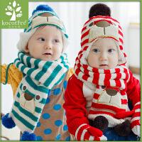 【3件85折:32.3】kk树秋冬儿童帽子围巾套装一体婴儿帽子冬保暖男童女童宝宝围巾潮