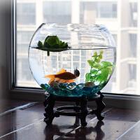 客厅绿萝水培花瓶透明玻璃花盆鱼缸特大号水养植物花卉器皿圆形抖音 大