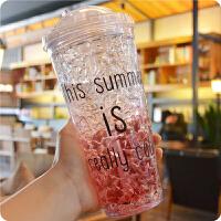 碎冰杯 创意夏日冰杯 学生双层带盖吸管塑料水杯 碎冰杯