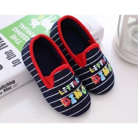 秋冬男儿童拖鞋宝宝女孩软底防滑包跟条纹居家室内地板幼儿园鞋
