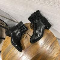 个性时尚休闲靴筒流苏系带马丁靴短靴女 直播专用图片