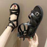 罗马女士凉鞋户外时尚平底沙滩鞋子交叉绑带仙女风温柔晚晚鞋
