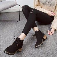 粗跟马丁靴女英伦风磨砂复古圆头短靴中跟5厘米欧美秋季单靴学生