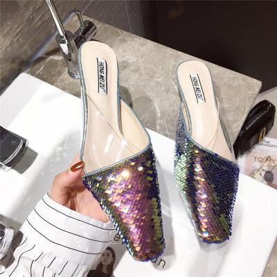 鞋子女新款2019时尚韩版方头闪闪亮片中跟小跟单鞋气质时尚单鞋女