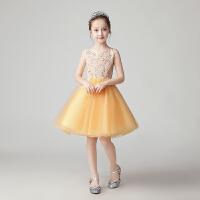 儿童主持人走秀晚礼服钢琴演出服夏女童生日公主裙花童婚纱蓬蓬纱裙