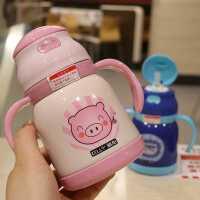 儿童吸管杯304 不锈钢保温带手柄随手宝宝喝水杯子可爱卡通保温壶