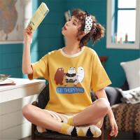 茉蒂菲莉 家居服女 新款睡衣女夏季 韩版短袖纯棉睡衣 女士针织棉家居服套装