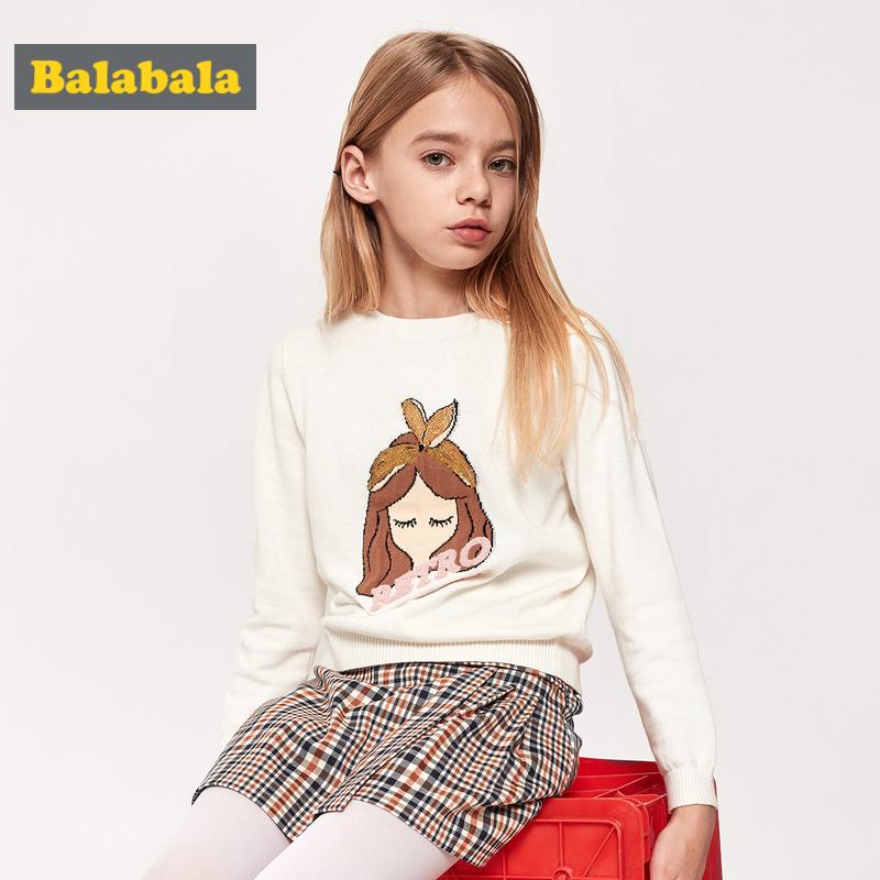 巴拉巴拉女童毛衣儿童打底衫新款春季童装中大童针织打底纯棉