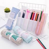 创意便携卷帘笔袋可爱卡通卷卷铅笔袋 大容量学生帆布文具盒
