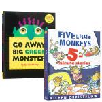 顺丰发货 进口英文原版绘本Go Away Big Green Monster走开大绿怪 + Five Little M