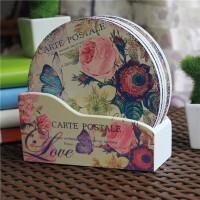 欧式厨房餐桌垫耐热杯垫盘子垫子木质隔热垫碗垫家用6片装送木盒圆形方形杯垫花色随机