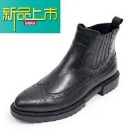 新品上市欧美厚底加绒马丁靴男高帮皮鞋韩版男靴英伦复古皮靴 雅黑 加绒