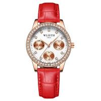 韩版简约女士手表红带情人节时尚防水潮流学生 女款手表