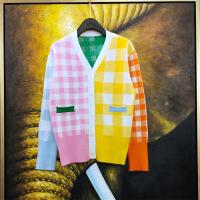 2019新款高端版彩色格子针织衫女开衫外套上衣英伦学院风V领羊毛衫潮