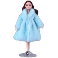 20190506200558043芭比娃娃衣服冬季 娃娃娃的时尚衣服休闲套装 冬季外套皮草大衣 女孩玩具 单买衣服