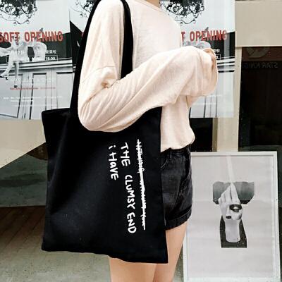 学生帆布包女单肩韩国简约百搭手提包ulzzang日系原宿风校园韩版 一般在付款后3-90天左右发货,具体发货时间请以与客服协商的时间为准