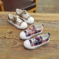 儿童帆布鞋男童时尚格子儿童板鞋拼色女童布鞋子