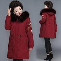 中年女冬装棉衣中长款40岁50年轻妈妈保暖羽绒中老年棉袄外套 XL(建议80-110斤 赠送运费险)