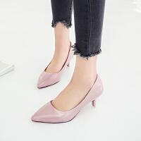 细跟单鞋女工作鞋套脚细跟低跟3厘米尖头大码40-42码高跟鞋职业鞋