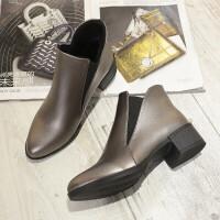 马丁靴女秋冬季新款短靴裸靴韩版粗跟短筒女靴加绒靴子潮
