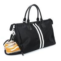 短途旅行包女手提鞋位大容量旅游行李包韩版旅行袋运动健身包 黑色 244升级鞋位版