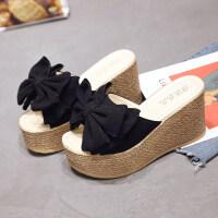 拖鞋女夏时尚2019新品蝴蝶结坡跟外穿百搭一字型花朵凉拖女鞋