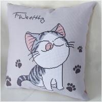 新款2018十字绣线绣刺绣抱枕简约现代客厅卡通可爱猫汽车5D简单绣