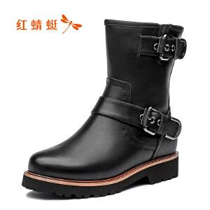 红蜻蜓女鞋秋冬皮鞋鞋子女女靴子加绒短靴WCC7440