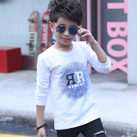 男童长袖t恤纯棉圆领长袖上衣服春季潮流韩版男孩印花体��打底衫