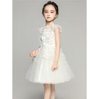 女童公主裙蓬蓬裙婚纱儿童生日晚礼服白色小花童钢琴演出服