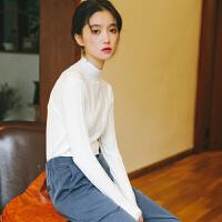 打底衫女半高领紧身针织衫女2019秋季新款韩版修身显瘦长袖套头打底衫上衣 均码