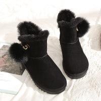 雪地靴女2018新品冬季学生百搭韩版棉鞋女加绒平底滑短筒靴子