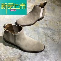 新品上市欧美C 反绒皮中帮靴子磨砂英伦复古男鞋真皮短靴